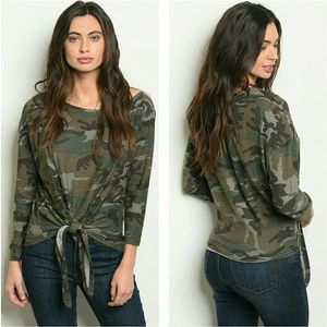 🆕 Camouflage self tie front top